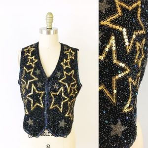 Vintage Star Sequin Beaded Vest New Years Eve Gold